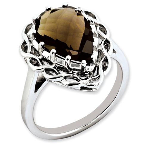 4.25 ct Sterling Silver Smokey Quartz Ring