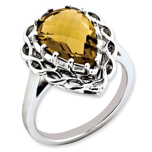 4.25 ct Sterling Silver Whiskey Quartz Ring