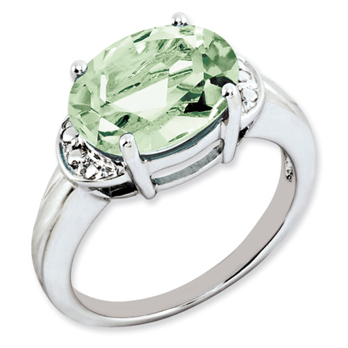 4.5 ct Sterling Silver Green Quartz Ring