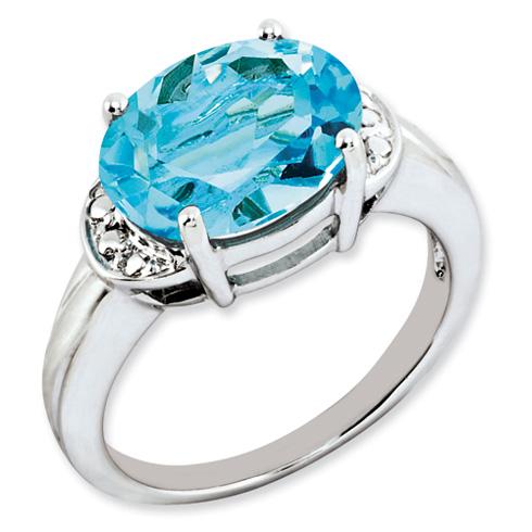 6 ct Sterling Silver Light Swiss Blue Topaz Ring