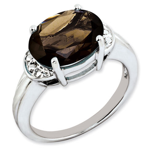 4.5 ct Sterling Silver Smokey Quartz Ring