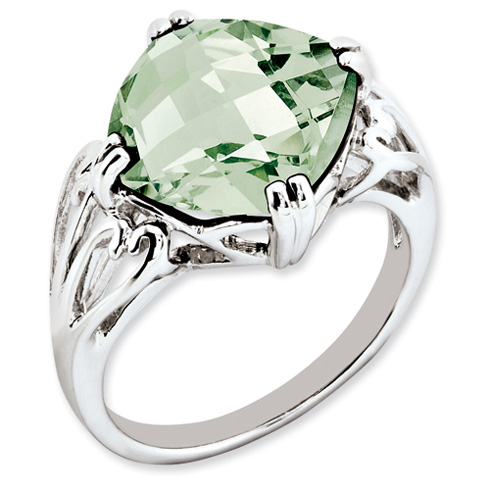 7.4 ct Sterling Silver Green Quartz Ring