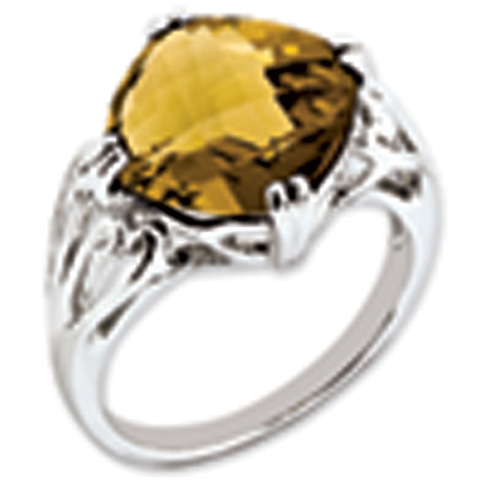 7.4 ct Sterling Silver Whiskey Quartz Ring