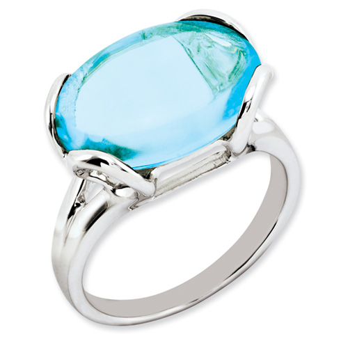 13.3 ct Sterling Silver Light Swiss Blue Topaz Ring