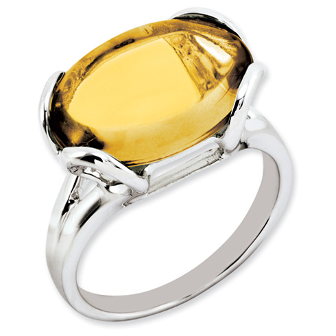 8.5 ct Sterling Silver Whiskey Quartz Ring