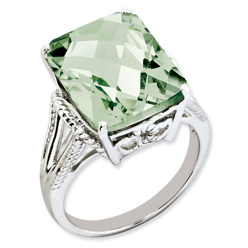 Sterling Silver 10.75 ct Green Quartz Ring