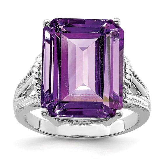 Sterling Silver 10.75 ct Checkerboard Amethyst Ring