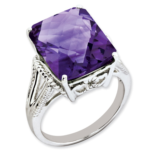 Sterling Silver 10.75 ct Amethyst Ring