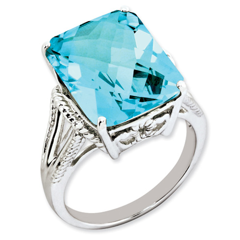 15.2 ct Sterling Silver Light Swiss Blue Topaz Ring
