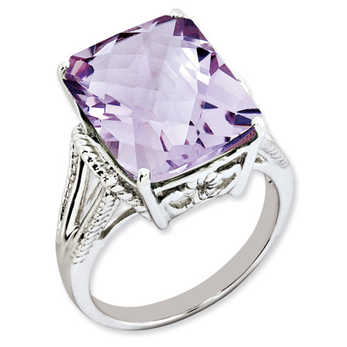 10.75 ct Sterling Silver Pink Quartz Ring