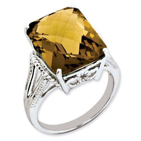 10.75 ct Sterling Silver Whiskey Quartz Ring