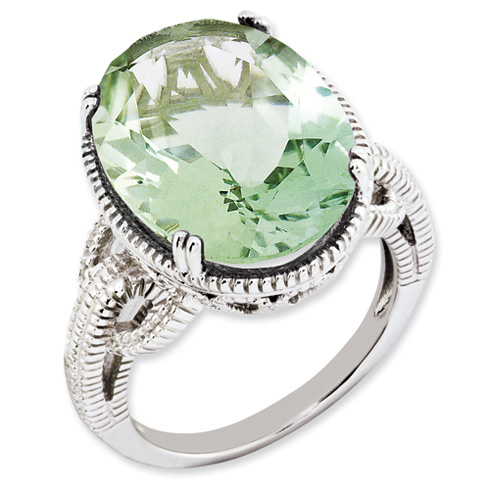 Sterling Silver 12.3 ct Green Quartz Ring