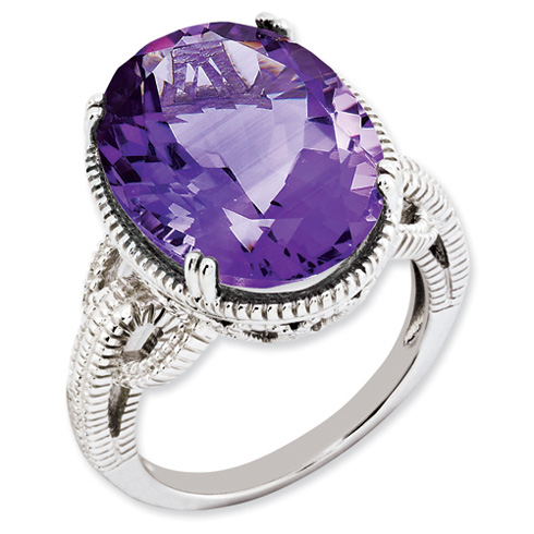 12.3 ct Sterling Silver Amethyst Ring