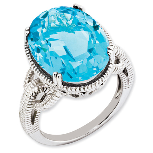 16.55 ct Sterling Silver Light Swiss Blue Topaz Ring
