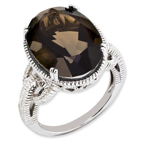 12.3 ct Sterling Silver Smokey Quartz Ring