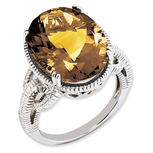 Sterling Silver 11.5 ct Whiskey Quartz Ring