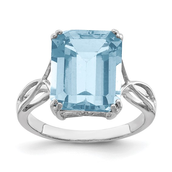 Sterling Silver 7.5 ct Light Swiss Blue Topaz Ring