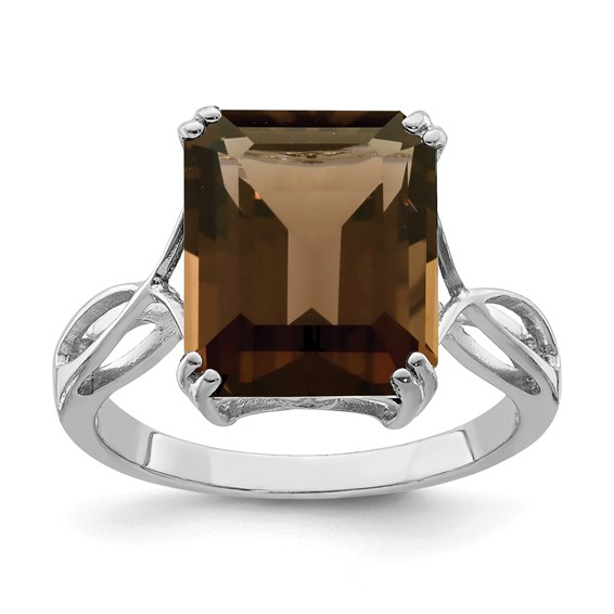 Sterling Silver 5.4 ct Smoky Quartz Ring