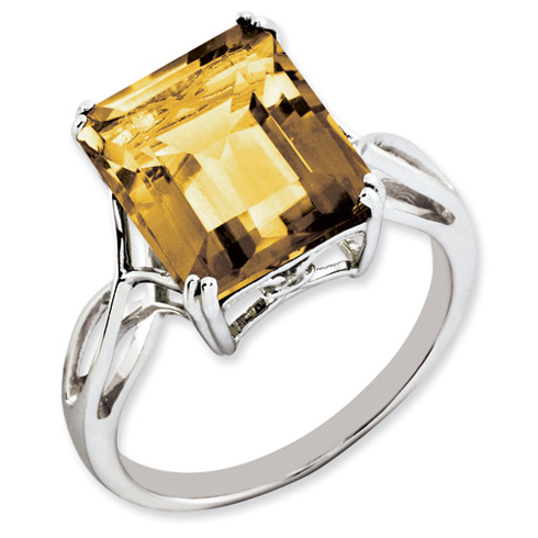 5.4 ct Sterling Silver Whiskey Quartz Ring