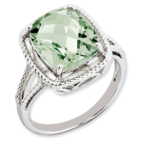 Sterling Silver 5.45 ct Green Quartz Ring with Rope Frame