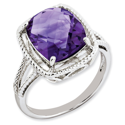5.45 ct Sterling Silver Amethyst Ring