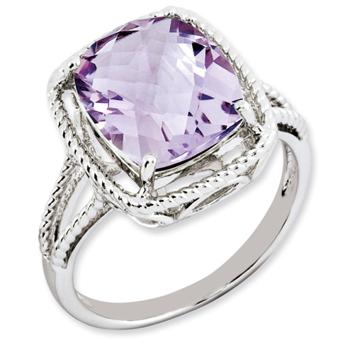 5.45 ct Sterling Silver Pink Quartz Ring