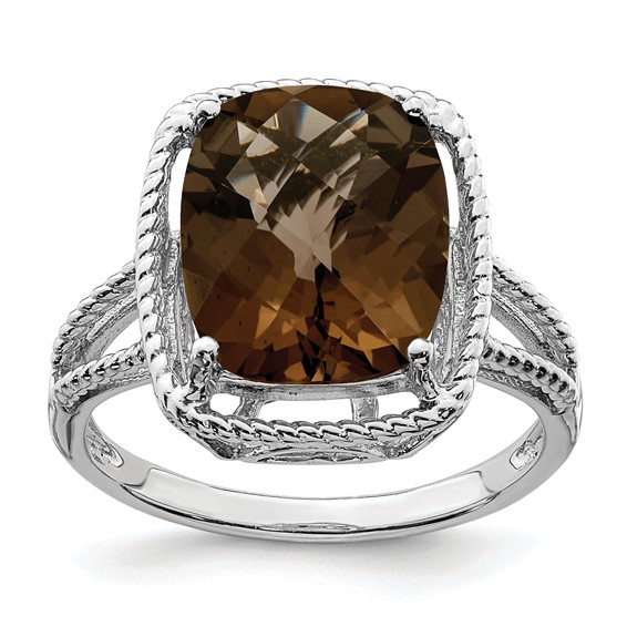 Sterling Silver 5.45 ct Smoky Quartz Ring with Rope Frame