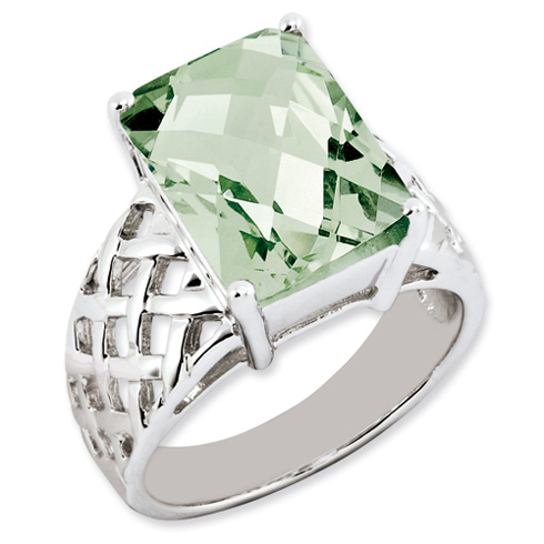 6.75 ct Sterling Silver Green Quartz Ring