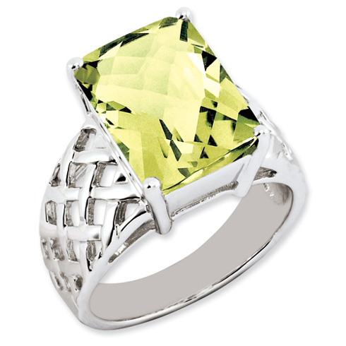 6.75 ct Sterling Silver Lemon Quartz Ring