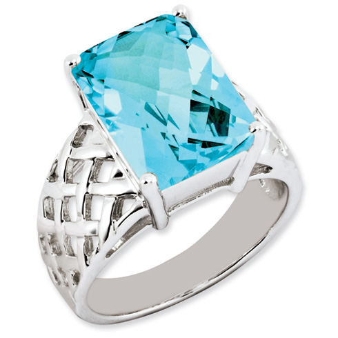 9.5 ct Sterling Silver Light Swiss Blue Topaz Ring