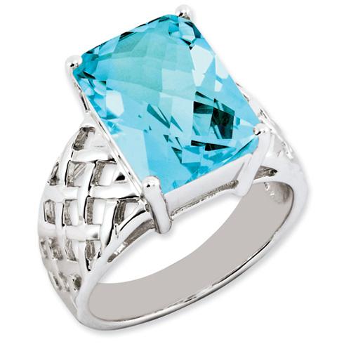 9.5 ct Sterling Silver Light Swiss Blue Topaz Ring