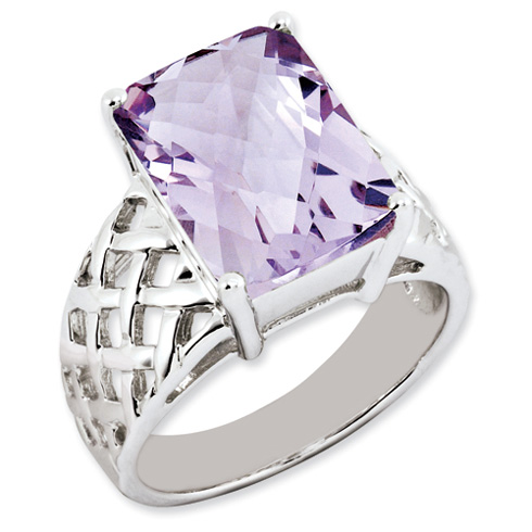 6.75 ct Sterling Silver Pink Quartz Ring