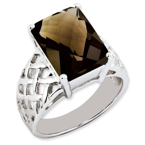 6.75 ct Sterling Silver Smokey Quartz Ring