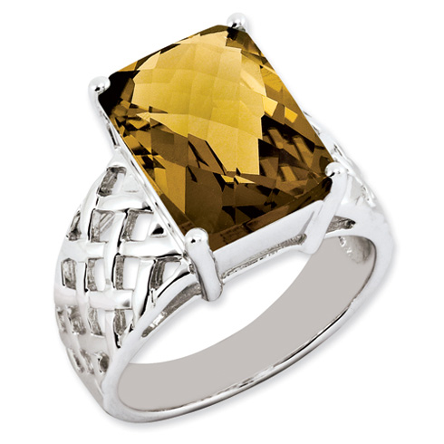 6.75 ct Sterling Silver Whiskey Quartz Ring