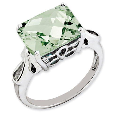 5.45 ct Sterling Silver Green Quartz Ring
