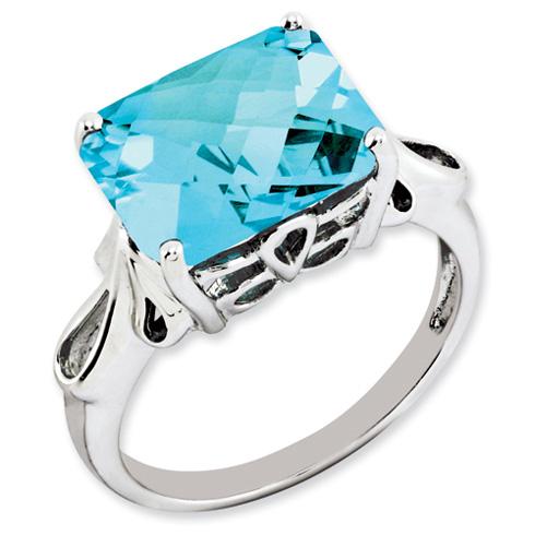 7.5 ct Sterling Silver Light Swiss Blue Topaz Ring