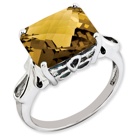 5.45 ct Sterling Silver Whiskey Quartz Ring