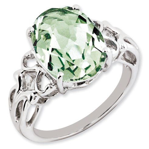 5.4 ct Sterling Silver Green Quartz Ring