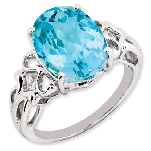 7 ct Sterling Silver Light Swiss Blue Topaz Ring