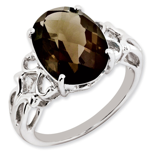 5.4 ct Sterling Silver Smokey Quartz Ring