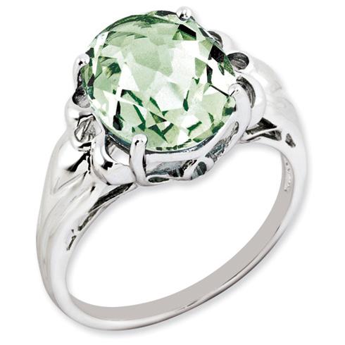 4.55 ct Sterling Silver Green Quartz Ring