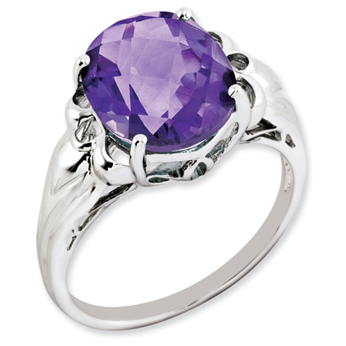 4.55 ct Sterling Silver Amethyst Ring