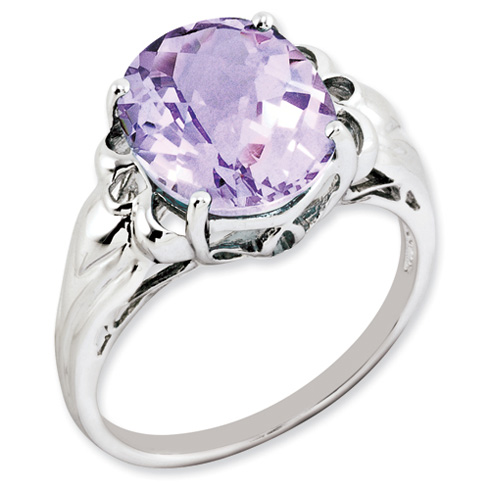 4.55 ct Oval Checkerboard Pink Quartz Ring Sterling Silver