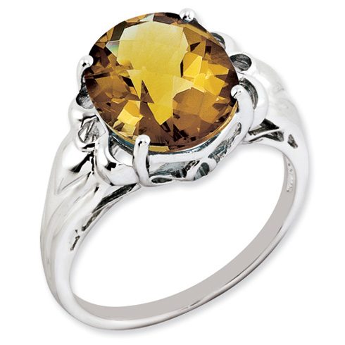 4.55 ct Sterling Silver Whiskey Quartz Ring