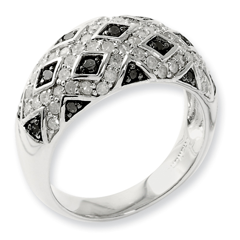 0.75 Ct Sterling Silver Black and White Diamond Ring