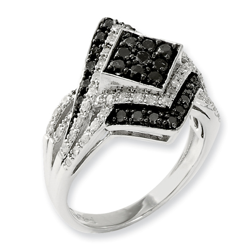 0.85 Ct Sterling Silver Black and White Diamond Ring