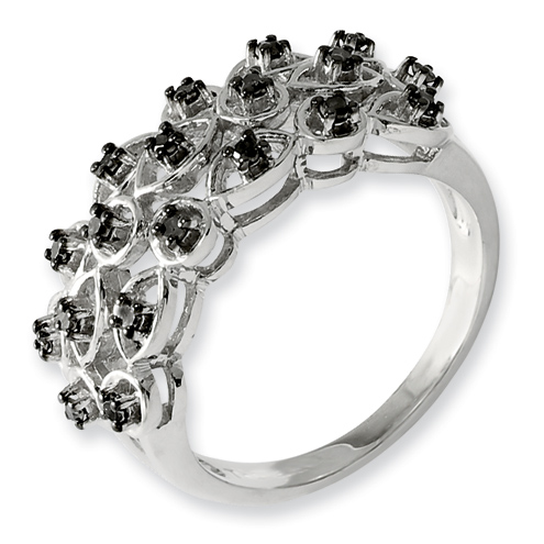 0.25 Ct Sterling Silver Black Diamond Ring