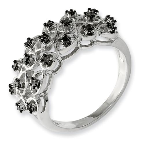 0.25 Ct Sterling Silver Black Diamond Ring
