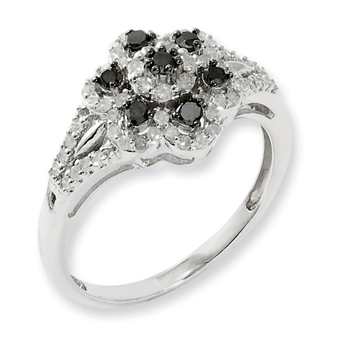 0.52 Ct Sterling Silver Black and White Diamond Ring
