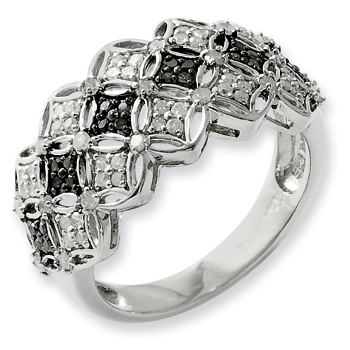 0.5 Ct Sterling Silver Black and White Diamond Ring